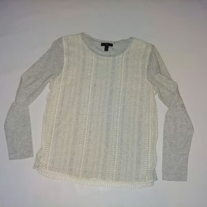 J.Crew long sleeve top lace front size M